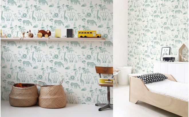 Papier peint enfant animaux jungle - gris vert Pinterest