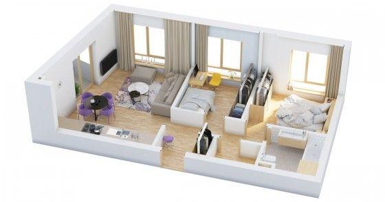 Planos de departamentos de dos dormitorios, selección de 50 diseños