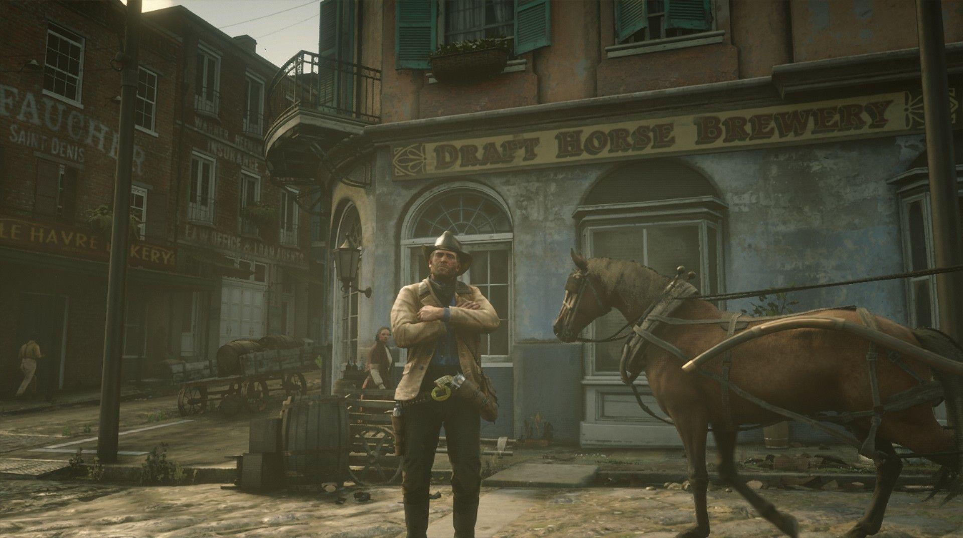 Red Dead Redemption 2 Xbox One Einrib13 Arthur Morgan Outsjde Draft Horse Brewery In Sain Red Dead Redemption Red Dead Redemption Ii Red Dead Redemption 1