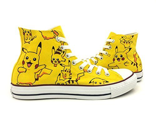 1fd8d36c4ddd Pokemon Pikachu Converse Shoes Men Women Hand Painted High Top Canvas  Sneaker (M10 W12