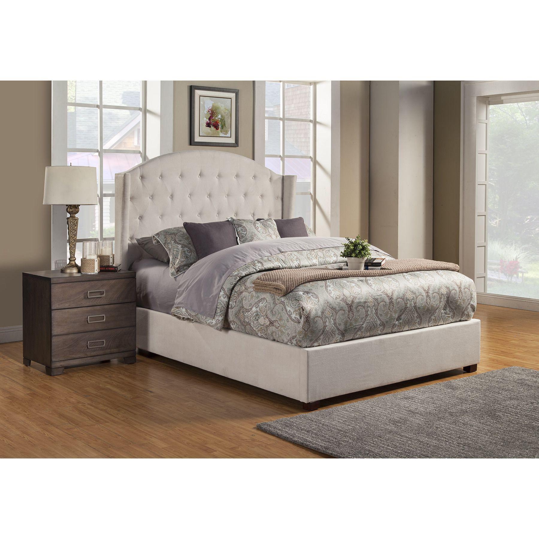 Alpine Ava Cream Wood Tufted Upholstered Bed #einrichtenundwohnen