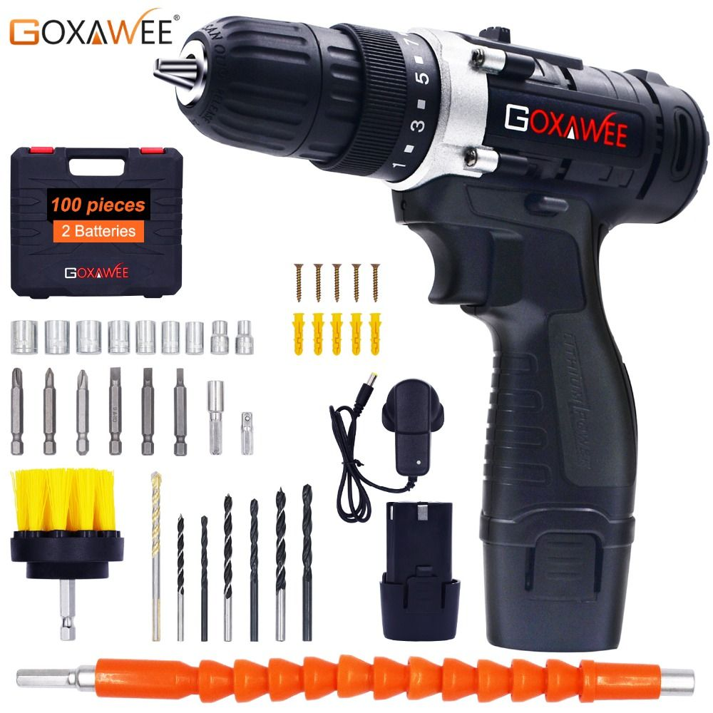 Goxawee 12v Two Speed Electric Screwdriver Cordless Drill Mini Wireless Power Driver Dc Lithium Ion Ba Cordless Drill Cordless Power Drill Electric Screwdriver
