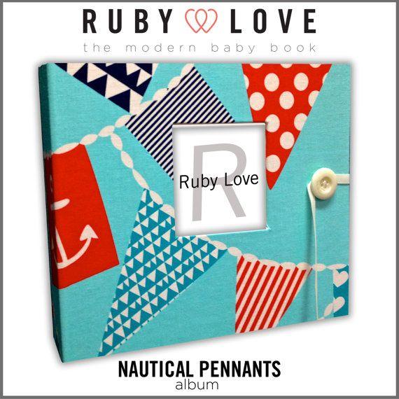 Baby Book . Baby Memory Book . NAUTICAL PENNANTS Album . Ruby Love Modern Baby Book on Etsy, $60.00