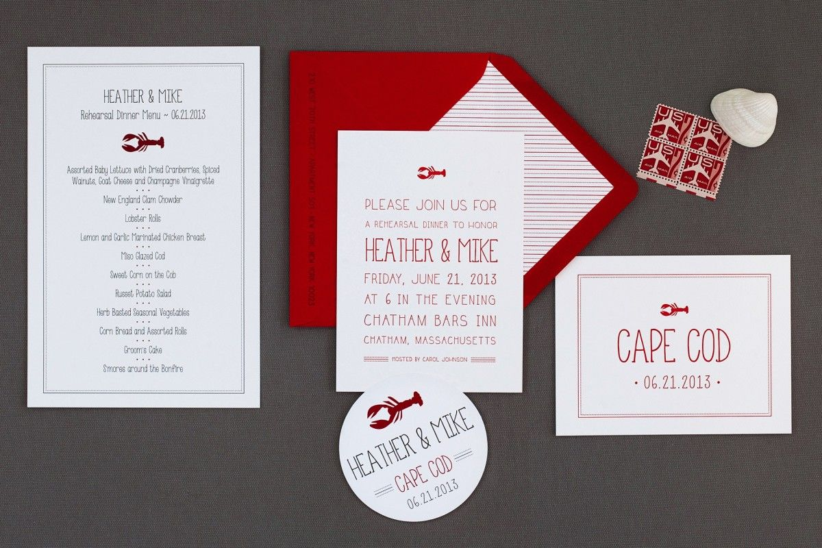 Cape Cod, Lobster, Casual Beach Wedding Invitation by A Day In May ...