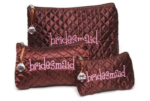 Mud Pie Wedding I Do Quilted Satin Cosmetic Bags, Bridesmaid, Chocolate Brown and Pink by Mud Pie. $16.00. Medium bag is 5-inch by 8-inch. Large bag is 8-inch by 10-inch. Set of 3, each with a faux diamond charm zip pull and the word bridesmaid embroidered in pink. Chocolate brown quilted satin cosmetic bags. Small bag is 4-inch by 6-inch. Say I Do to the latest looks in bridal party favors with selections from Mud Pie's I Do Collection. Brown and pink with polka dots and r...