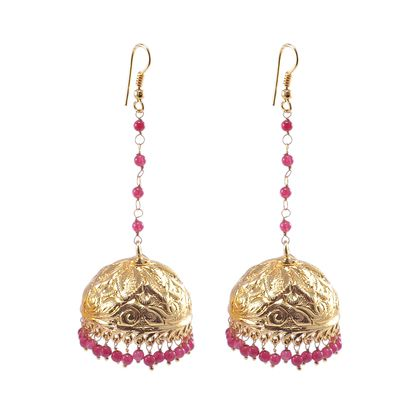 Pink Quartz Gold Plated Jhumka Silvesto Pg 24803 Earrings on Shimply.com