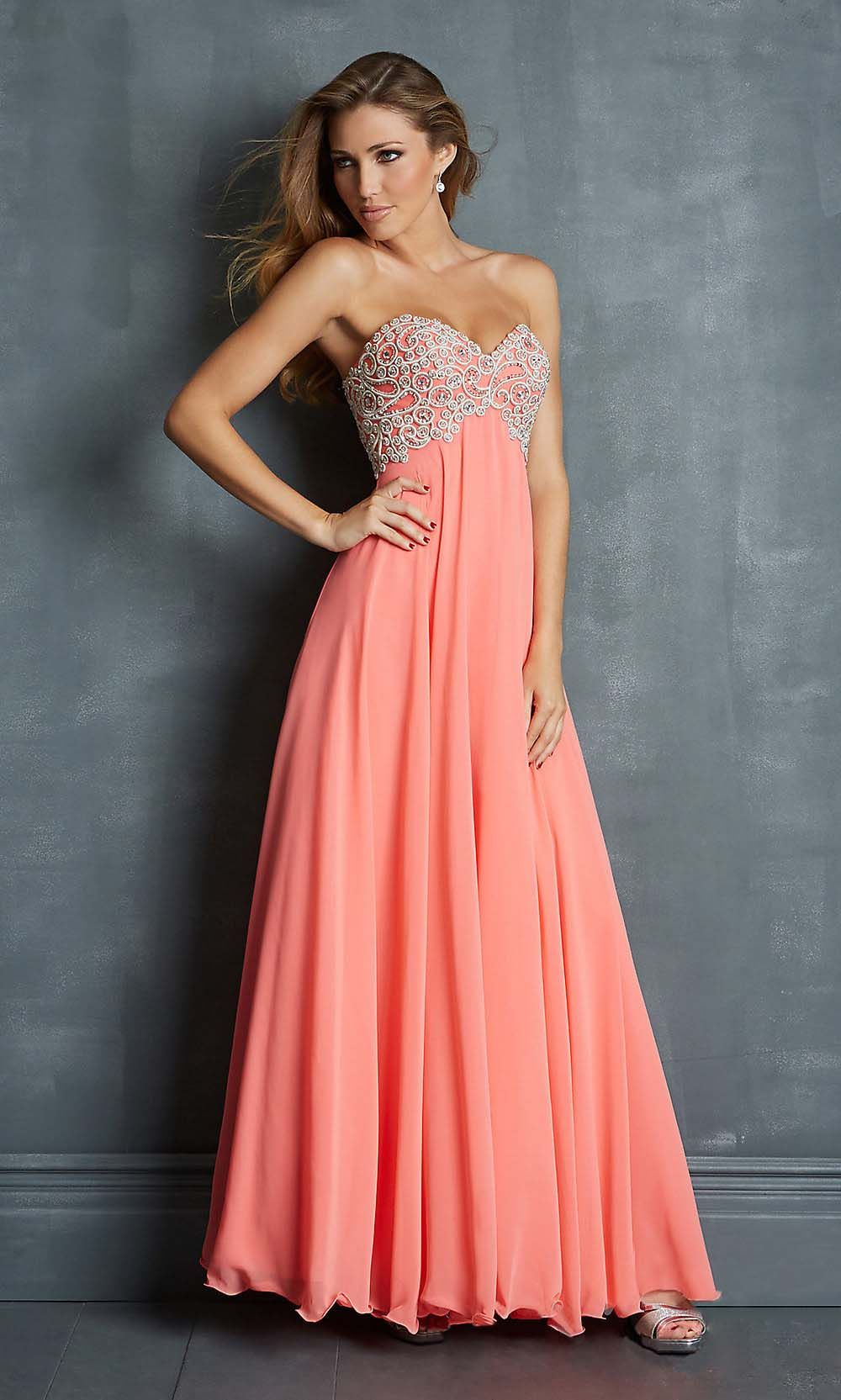 applique prom dresses, coral prom dress, long prom dresses