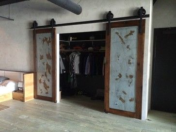 Sliding Barn Door   Bipart Reclaimed Wood / Galv Industrial Doors    Industrial   Interior Doors