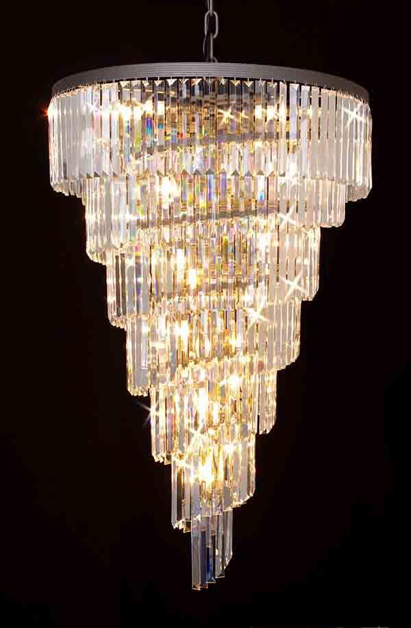 A7 1100 28 Gallery Chandeliers Retro Odeon Crystal Glass Fringe 7 Tier Spiral Chandelier