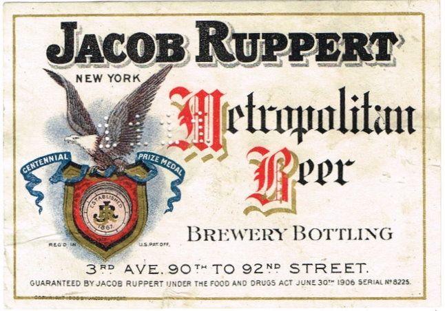 Labels Metropolitan Beer Jacob Ruppert Pre Prohibition New York