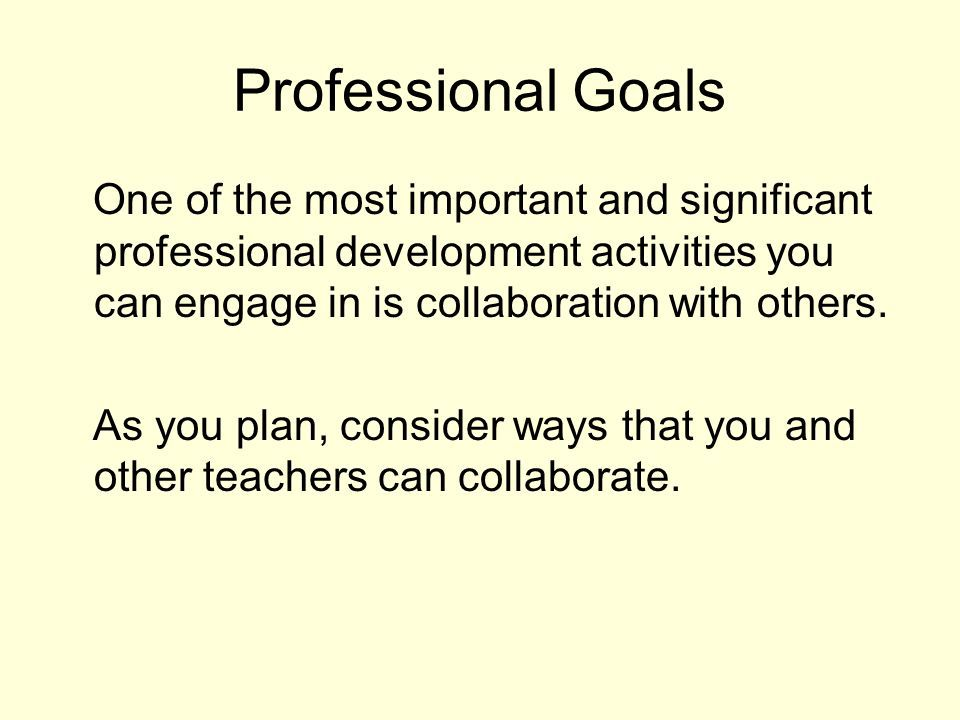 Professional Goals Personal Professional Development Planning