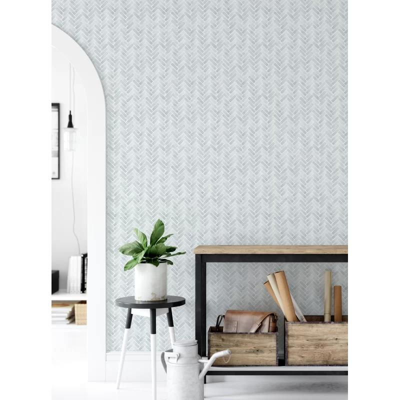 Magellan Watercolor Herringbone Paintable Peel And Stick Wallpaper Panel Grey Wallpaper Living Room Wallpaper Living Room Accent Wall Dining Room Wallpaper