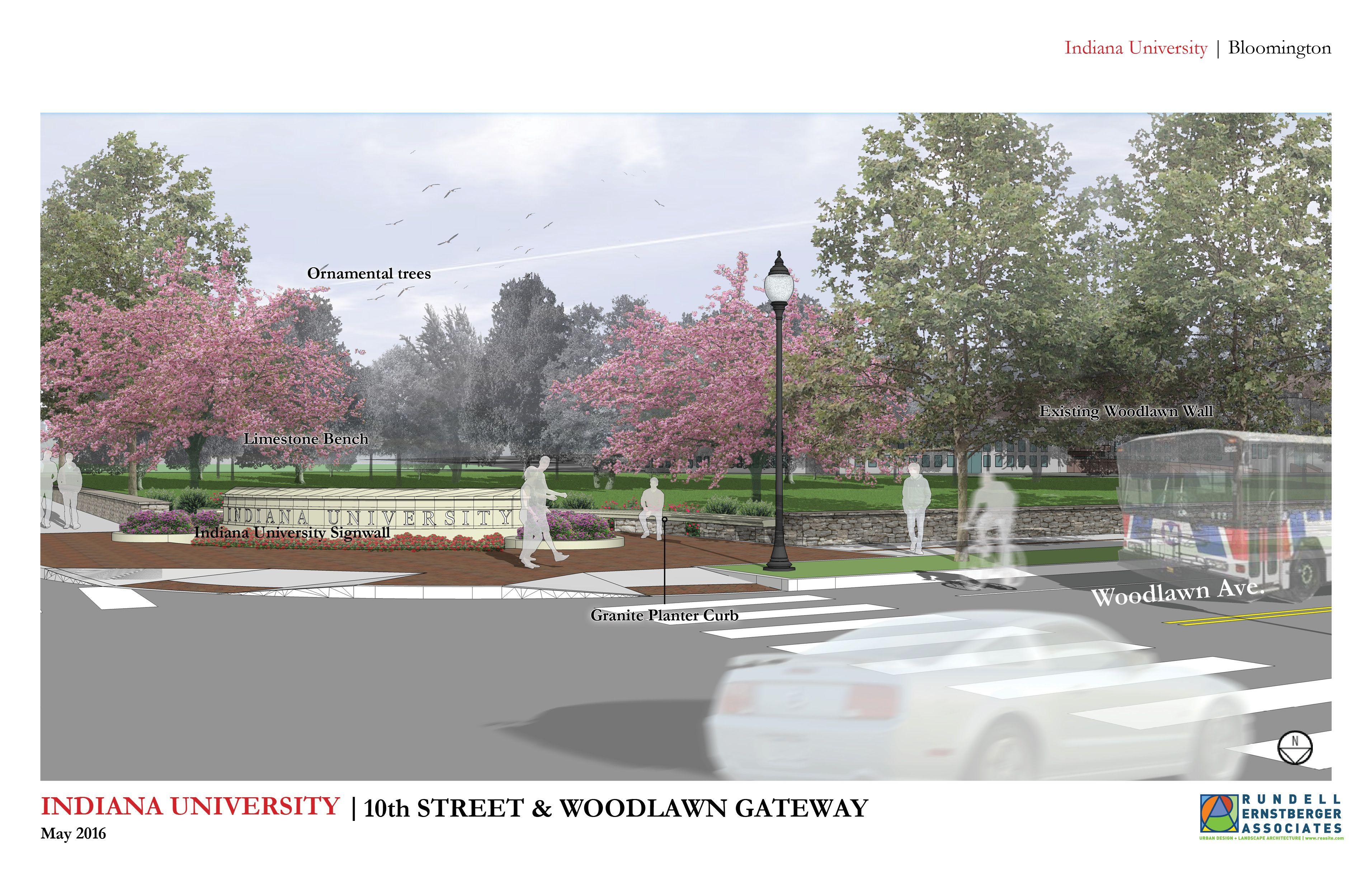10th And Woodlawn Gateway Improvements Indiana University Rundell Ernstberger Associates Woodlawn Indiana University Ornamental Trees