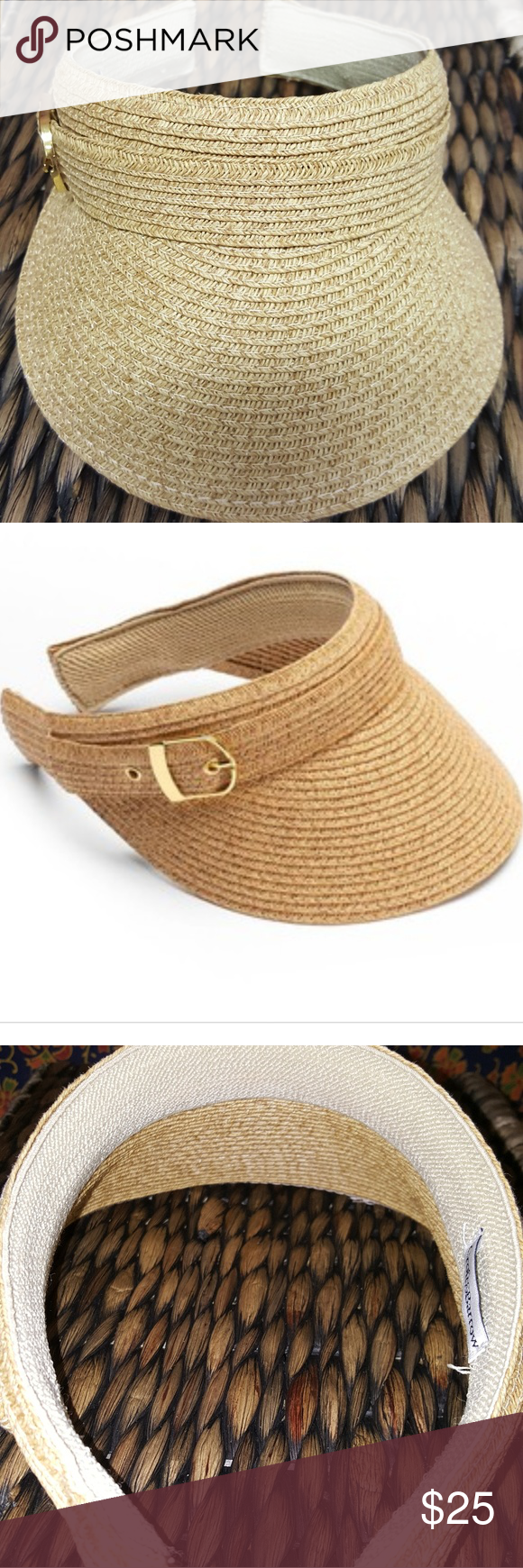 6040b6454b2 CROFT   BARROW WOVEN BUCKLE VISOR DURABLE WOVEN STRAW VISOR GREAT FOR A DAY  OUT IN