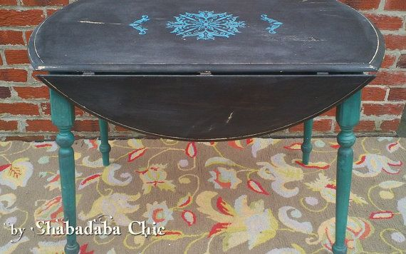Rustic Black and Turquoise Painted Drop Leaf by ShabadabaChic, $175.00