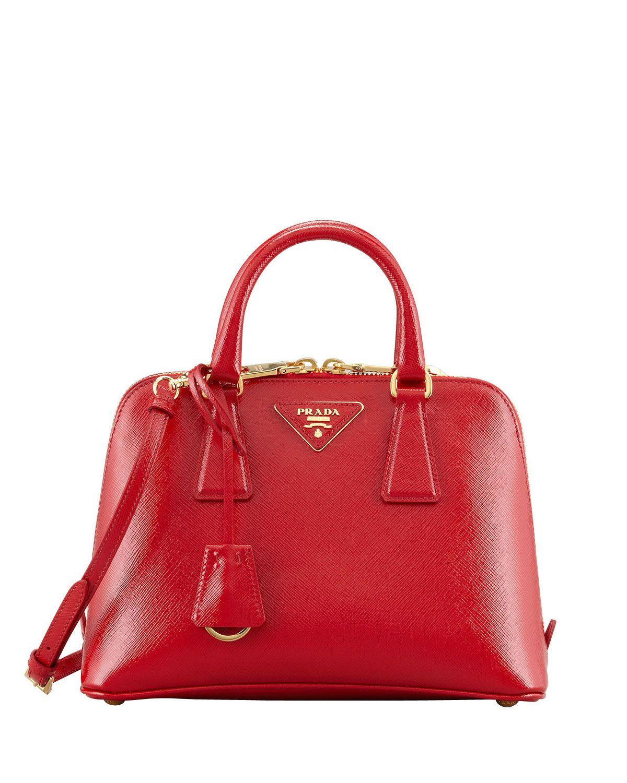 f9a7d0e1889c Prada Saffiano Vernice Promenade Crossbody Bag, Red - Neiman Marcus