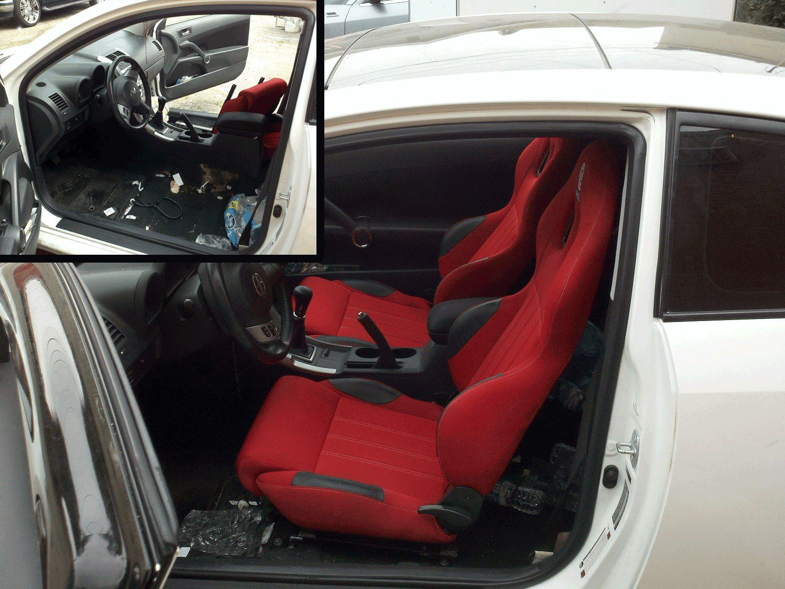 Racing seats installed on a scion tc