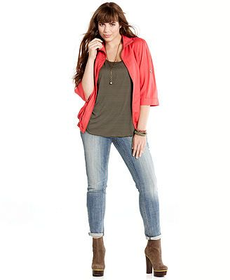 28a275eab American Rag Plus Size Roll-Tab Zip-Front Jacket