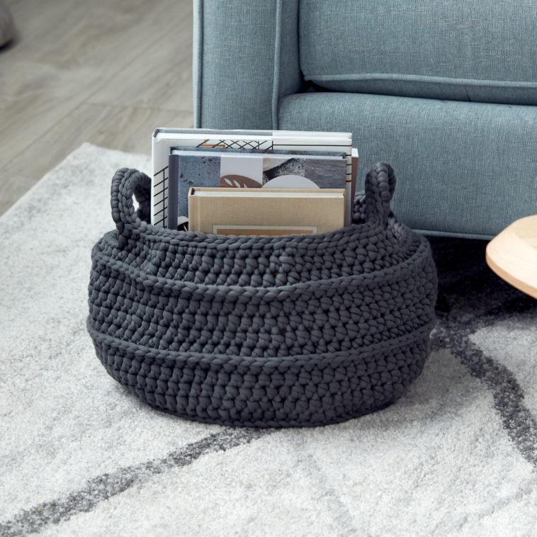 CROCHET BASKET WITH HANDLES - KnitCraft #crochet #basket #homedecor #pattern