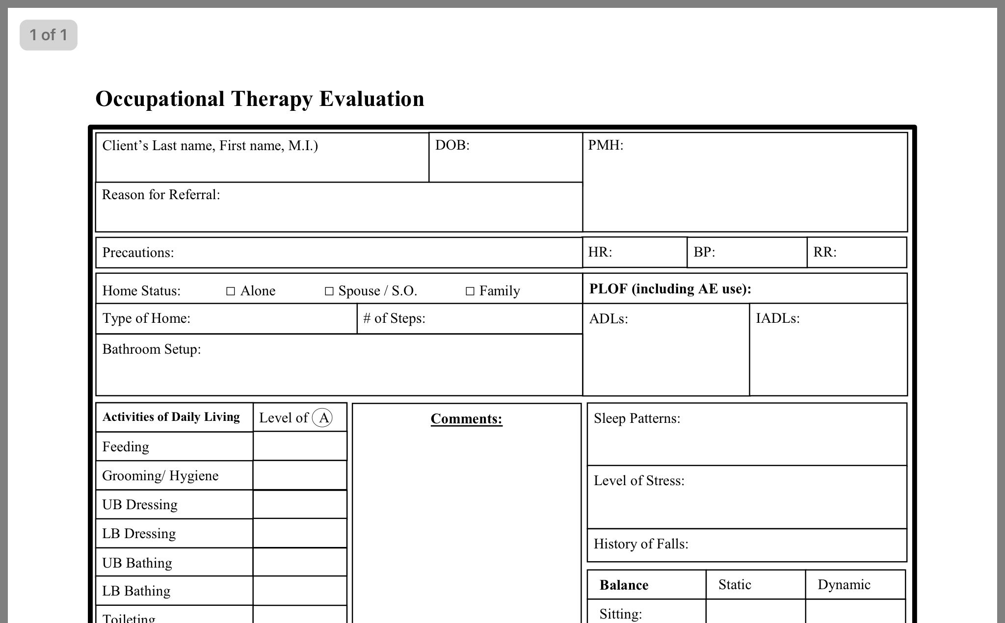 Pin By Erin Kamada On Evaluation Form Evaluation Form Sleep Pattern Evaluation Pediatric occupational therapy evaluation template