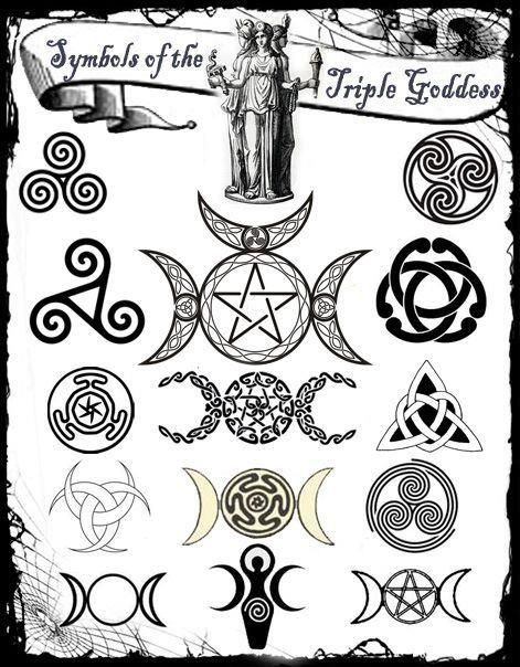 3 Symbols Of The Triple Goddess Wicca Symbols Pinterest