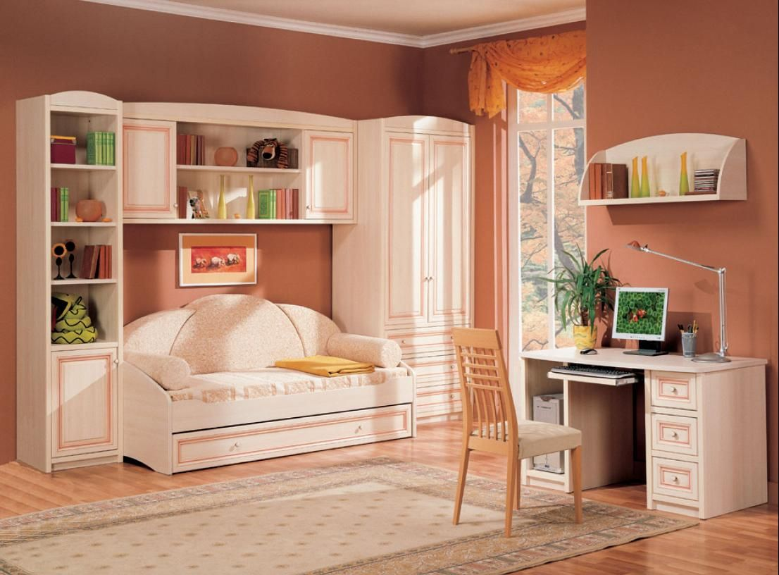 cool teenage bedroom ideas with orange painting wall plus sofa bed