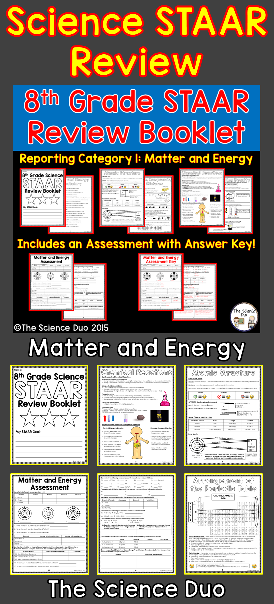 STAAR Science Review Booklet-Matter and Energy. This resource covers  Reporting Category 1: Matter and Ener…   Science staar [ 2112 x 960 Pixel ]