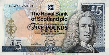 """Commemorative Bank Note for 250th Anniversary of the Royal and Ancient Golf Club (Front)          The front of the normal Royal Bank of Scotland £5 note incorporates the crest of the Royal and Ancient Golf Club in gold and the serial numbers are all prefixed with """"R&A"""", the abbreviation known to golfers the world over. Of course, the Royal Bank is even older than the R&A (it was founded by Royal Charter in 1727). But it is just possible that Lord Ilay, the bank's first Governor (that's his…"""
