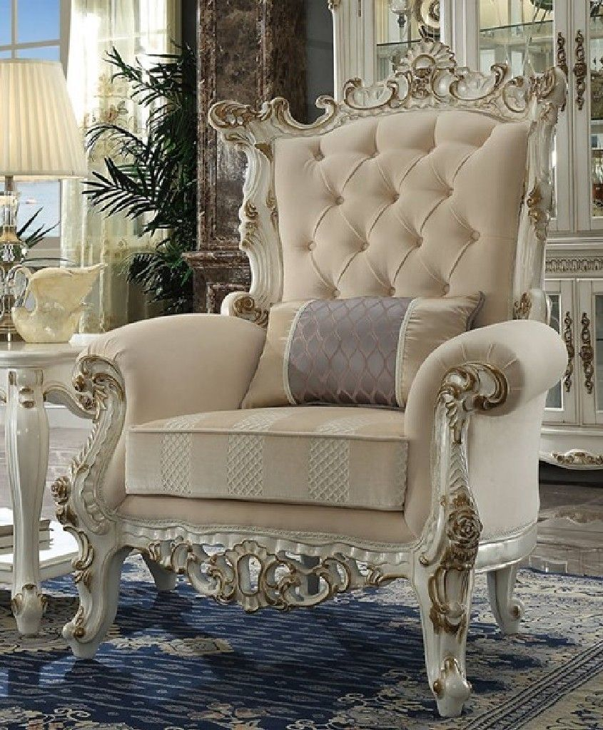 Picardy Ii Accent Chair Pillow In Fabric Antique Pearl Acme Furniture 53463 Accent Chairs Luxurious Accent Chairs Living Room Sets
