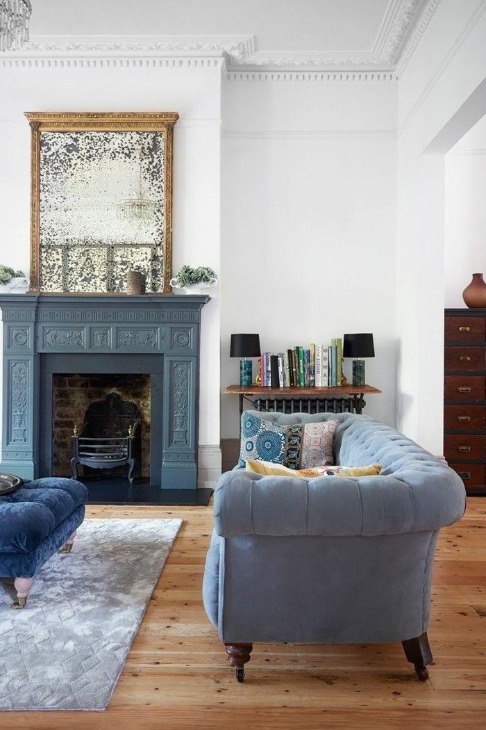 Raumdesign Ausgefallene Ideen Für Das Wohnzimmer Extravagantes Gemälde über  Dem Kamin