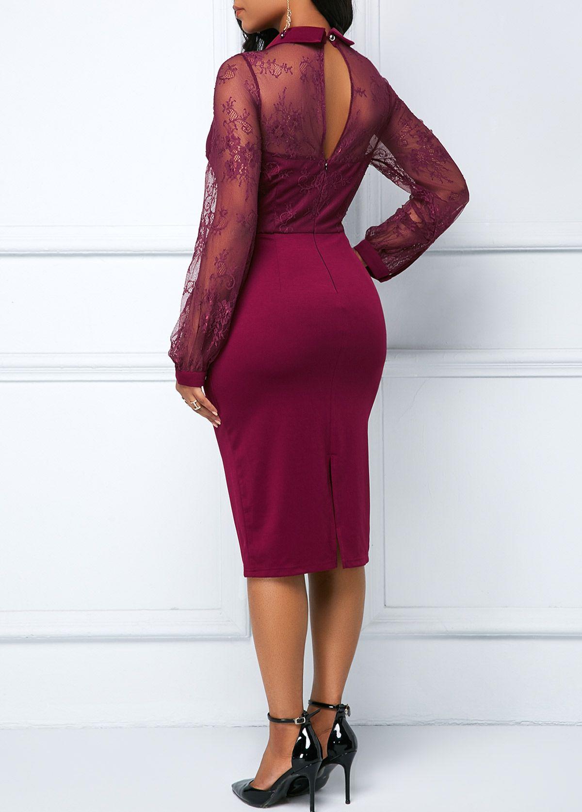 e7b0b9e2c9aad Back Slit Lace Patchwork Sheath Dress