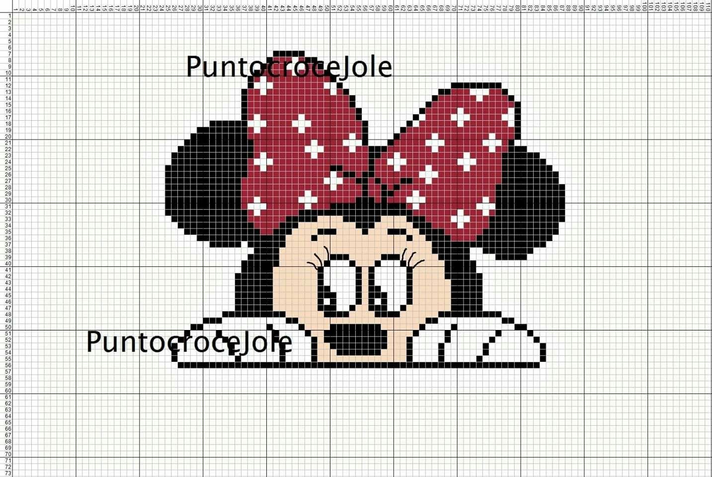 ミニーマウスのクロスステッチ無料図案 アイロンビーズにも