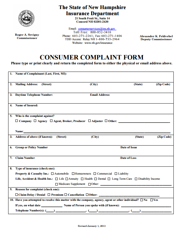 New Hampshire Insurance Commissioner Complaint (With