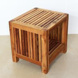 Waterproof Teak Slat End Table with Shelf - Made in Thailand