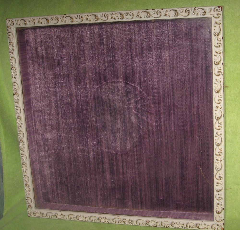 Glass Front Solid White Shabby Chic Wood Shadow Box Plate Frame Purple Lining