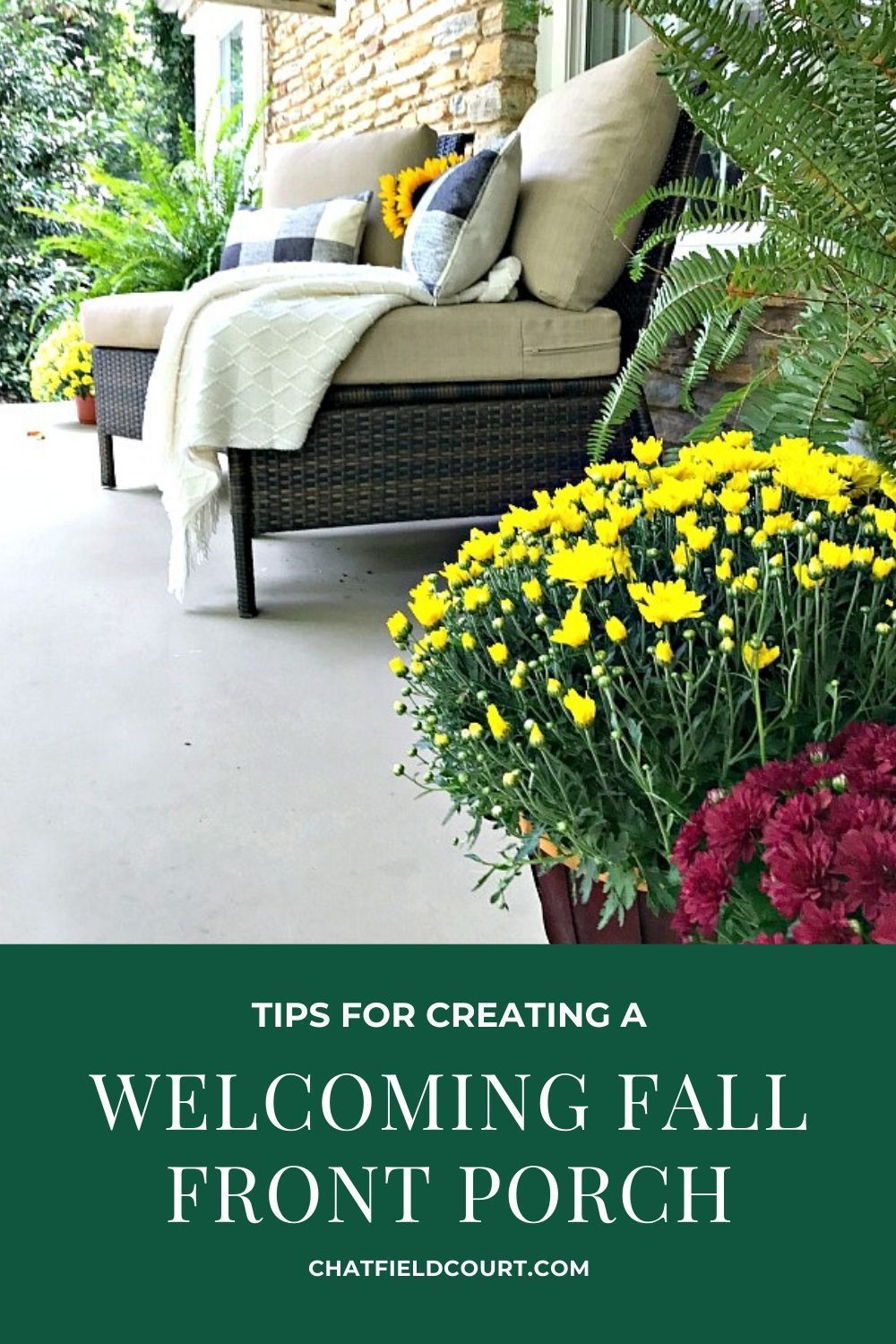 5 Tips to help you create a welcoming fall front porch including adding fall color and texture.