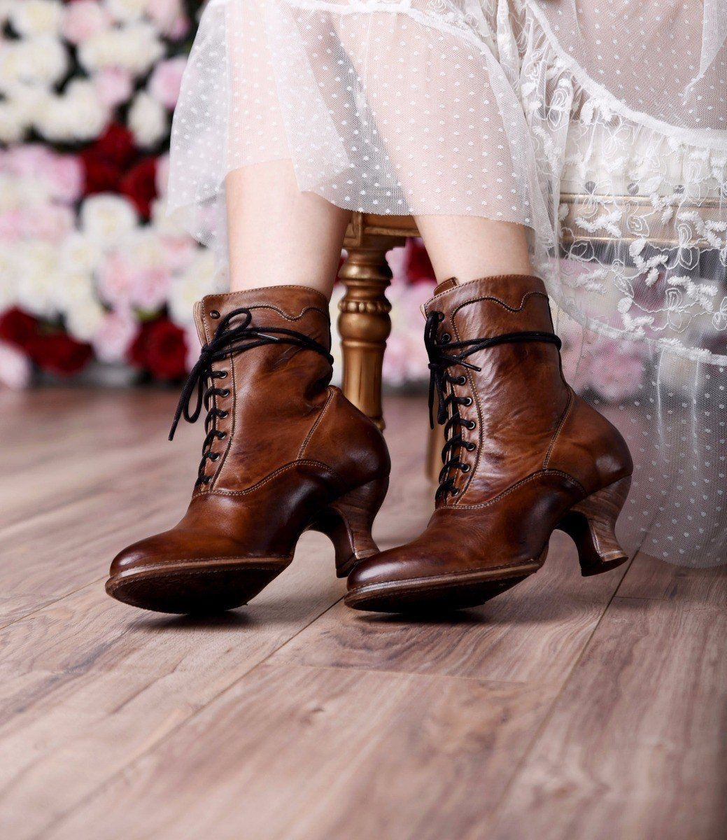 4c26991707 Victorian Shoes Victorian Inspired Leather Ankle Boots in Tan Rustic  $255.00 AT vintagedancer.com