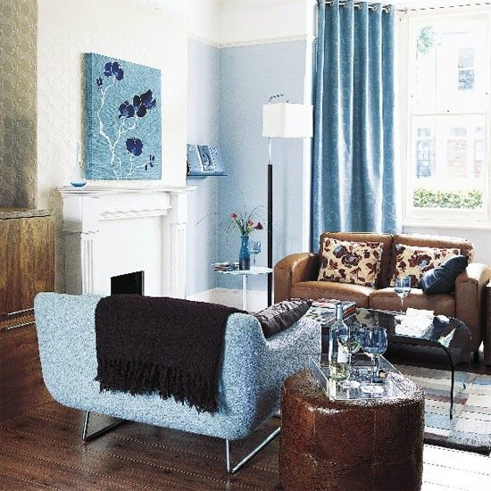 Wohnzimmer ideen braun blau  Blue living room