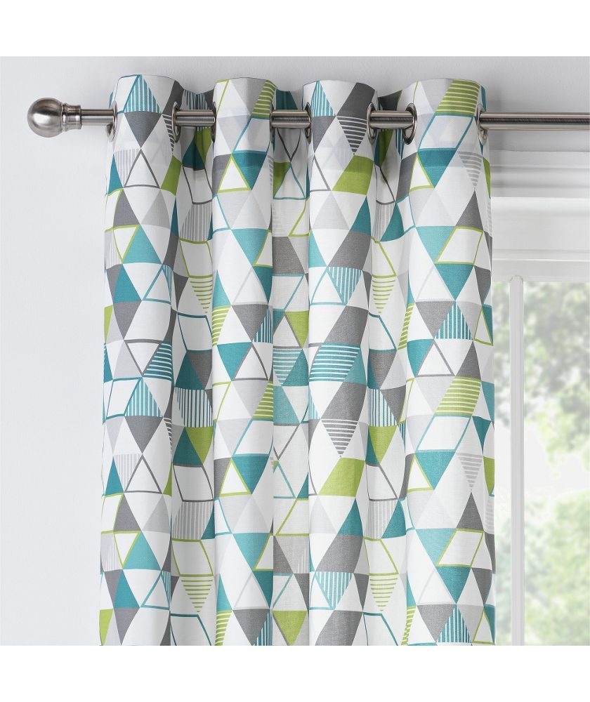 Buy ColourMatch Geo Unlined Eyelet Curtains - 168x183cm at Argos.co ...