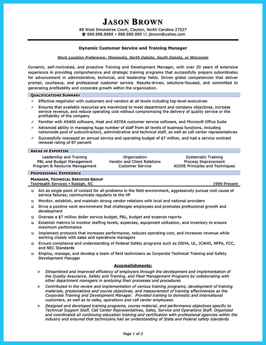 Training Manager Resume When Making Call Center Supervisor Resume You Should First Fill