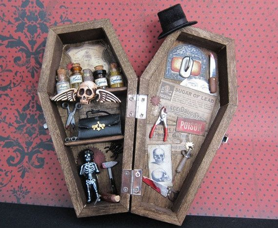 Dr Deeth's Miniature Coffin Shadow Box by AhtheMacabre on Etsy, $49.00