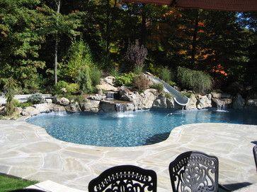 ramsey nj free form gunite pool with slide and custom cabana eclectic pool new york by landscape perceptions of ditomaso design inc - Gunite Pool Design Ideas