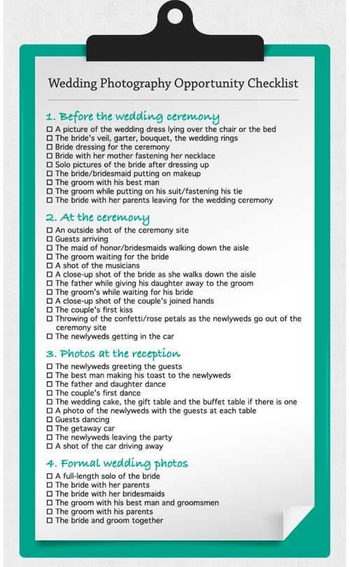 Wedding Photo Opps Checklist-- this is a NEED!