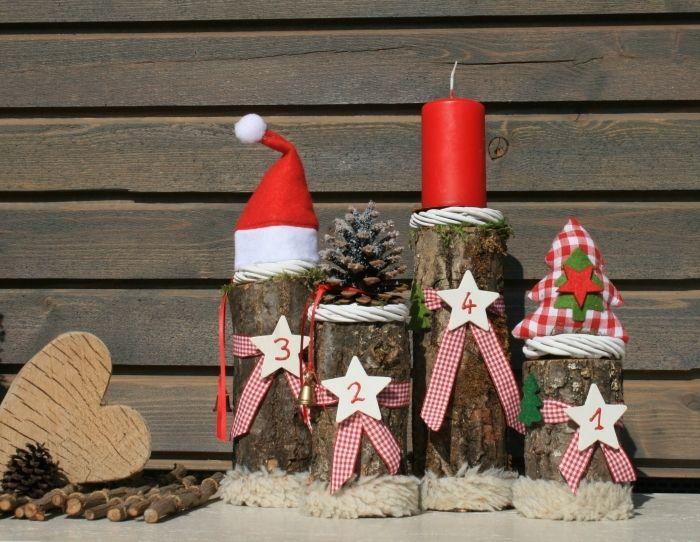 Naturnaher Adventskranz mit Baumstämmen! von Deko-TU-Shop auf ...