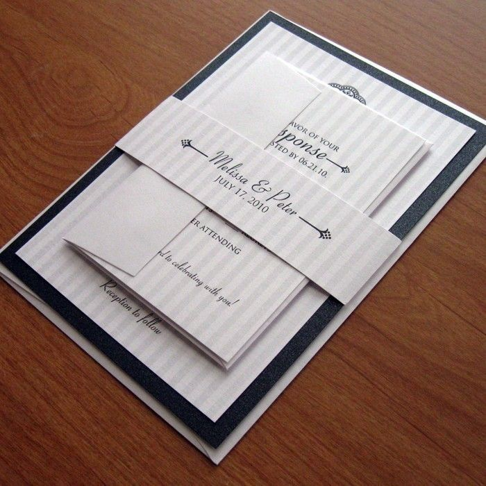 Classic Layered Wedding Invitation Suite Sample Set - Elegant Silver Stripes with Shimmery Black Backing Card. $4.00, via Etsy.