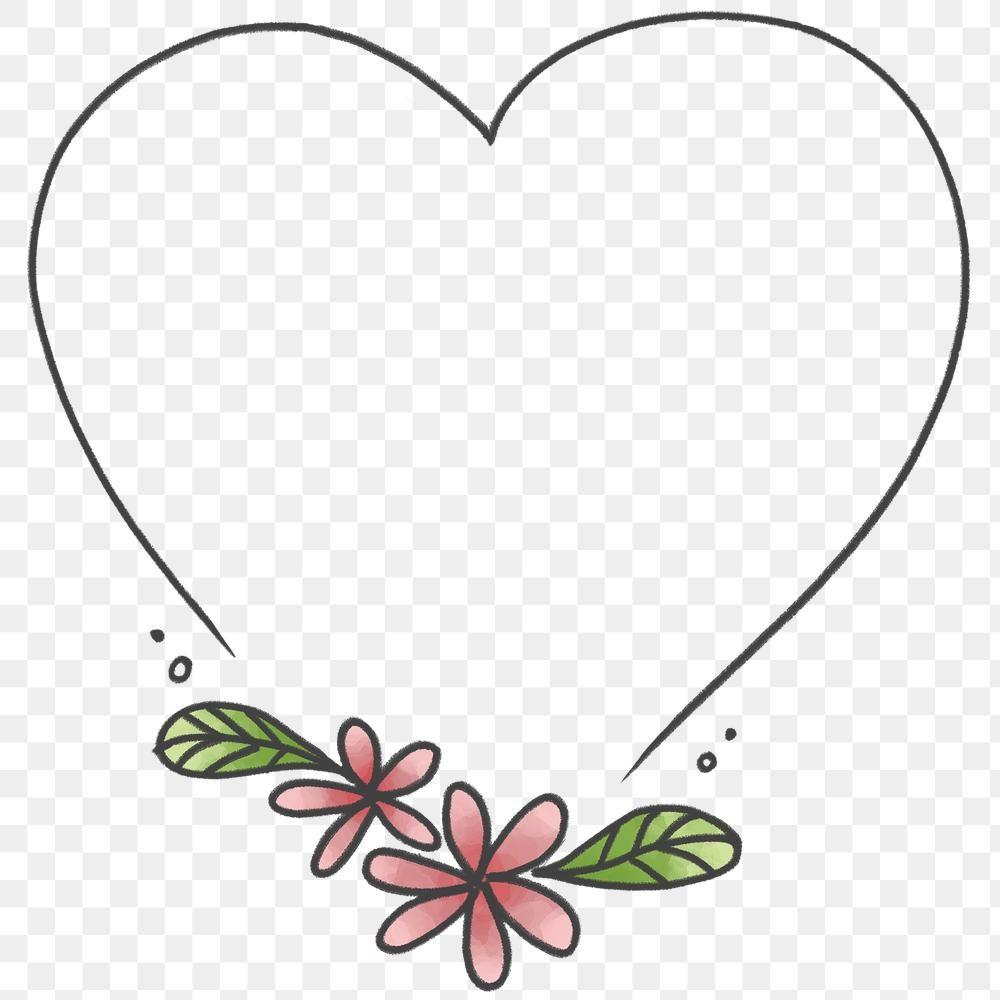 Doodle Heart Floral Frame Transparent Png Free Image By Rawpixel Com Nunny In 2021 Love Frames Pink Heart Background Valentines Frames