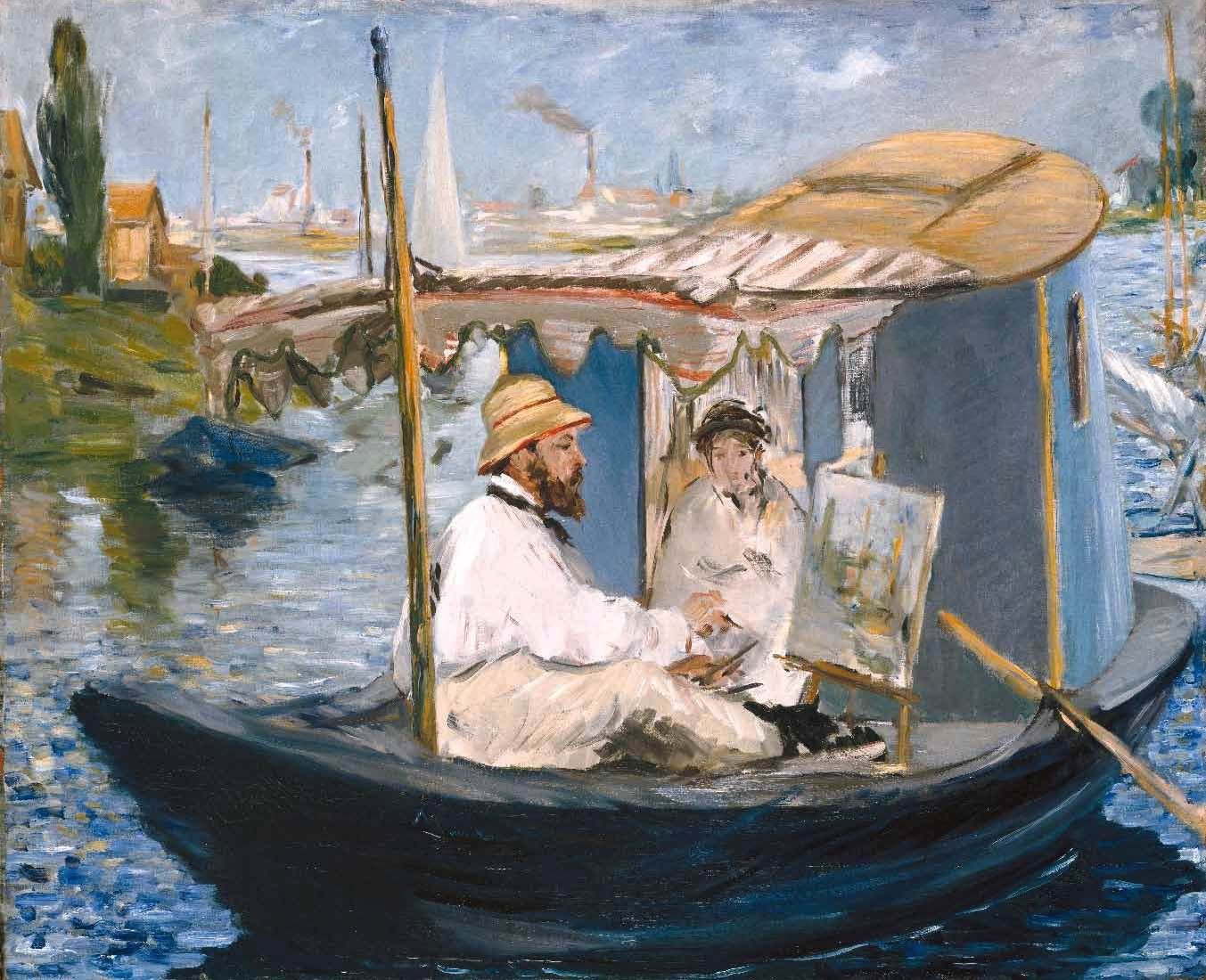 claude monet painting on his boat studio in argenteuil by manet monet pinterest monet. Black Bedroom Furniture Sets. Home Design Ideas