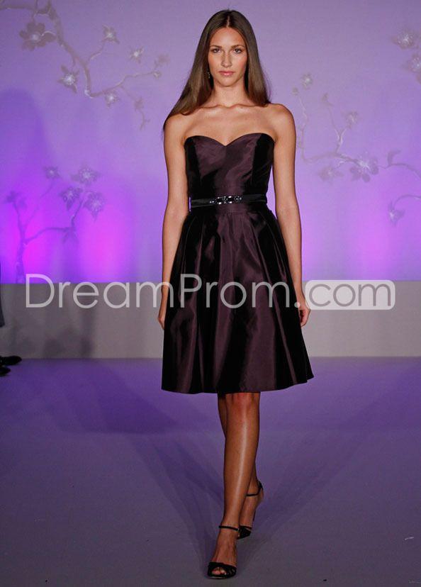Elegant Ruched A-Line Knee-Length Strapless Bridesmaid Dresses ...