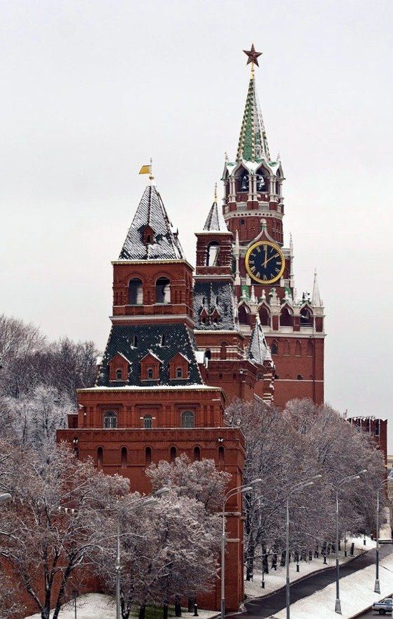 Towers of the Moscow Kremlin in winter. #Russia