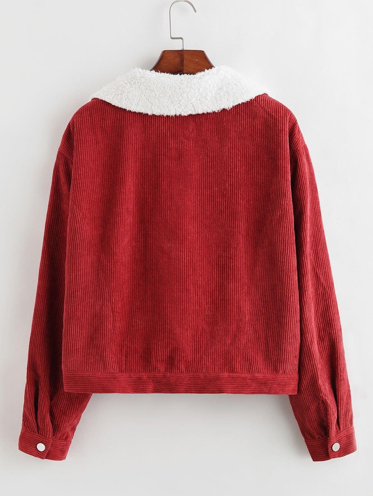 Zaful Faux Shearling Lining Corduroy Jacket Red Wine Affiliate Shearling Lining Zaful Faux Red Ad With Images Hooded Denim Jacket Long Coat Fur Hood Parka